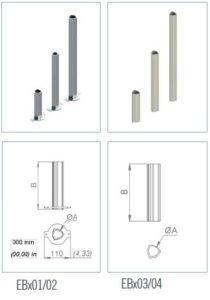 Schéma technique des barres de ralonges des actionneurs de vannes