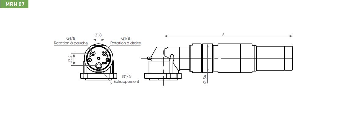 Schéma d'encombrement pour le moteur pneumatique MRH07