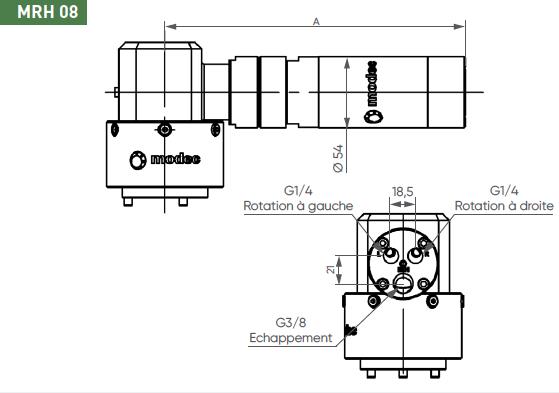 Schéma d'encombrement pour le moteur pneumatique MRH08
