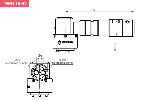 Schéma d'encombrement pour le moteur pneumatique MRH10RV