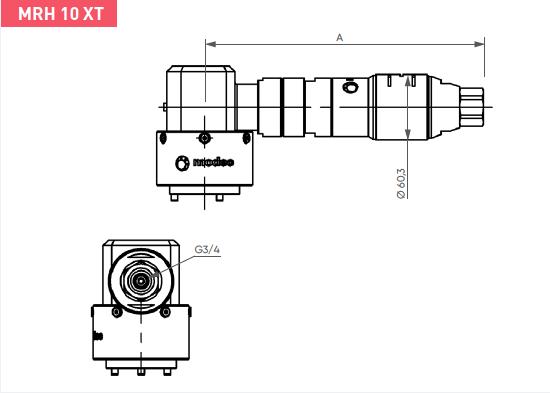 Schéma d'encombrement pour le moteur pneumatique MRH10XT