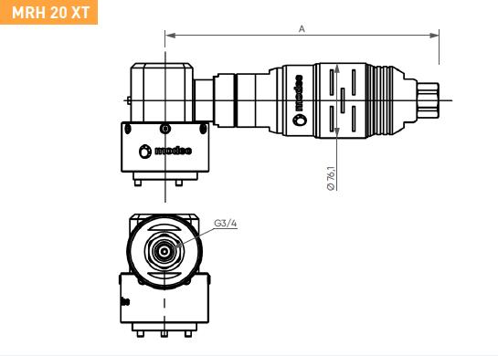 Schéma d'encombrement pour le moteur pneumatique MRH20XT