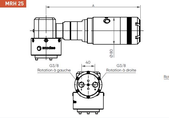 Schéma d'encombrement pour le moteur pneumatique MRH25
