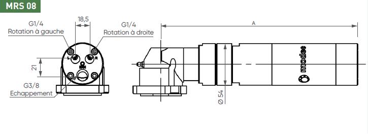 Schéma d'encombrement pour le moteur pneumatique MRS08