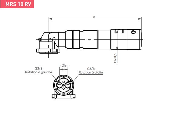 Schéma d'encombrement pour le moteur pneumatique MRS10RV