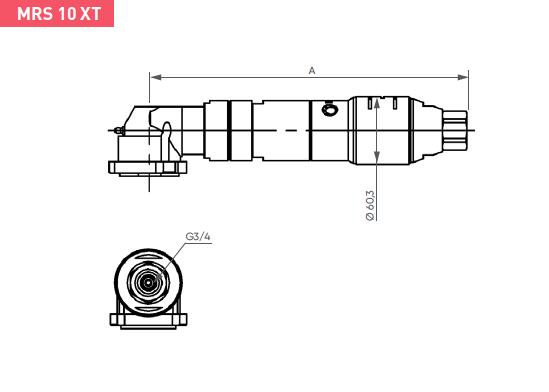 Schéma d'encombrement pour le moteur pneumatique MRS10XT