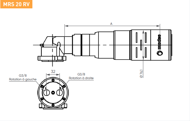 Schéma d'encombrement pour le moteur pneumatique MRS20RV
