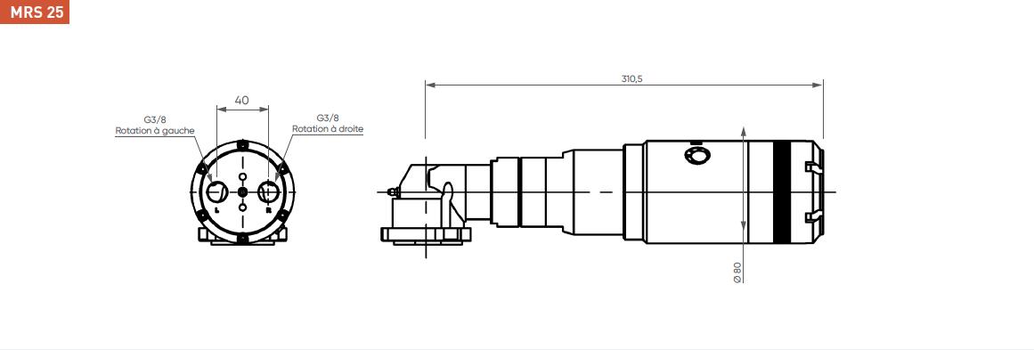 Schéma d'encombrement pour le moteur pneumatique MRS25