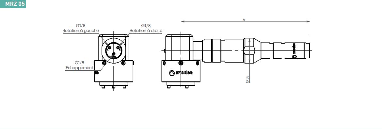 Schéma d'encombrement pour le moteur pneumatique MRZ05