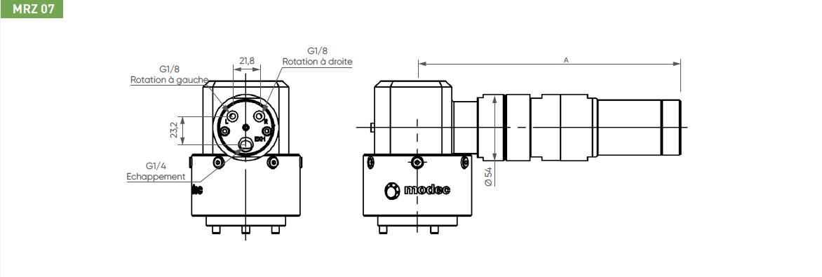 Schéma d'encombrement pour le moteur pneumatique MRZ07