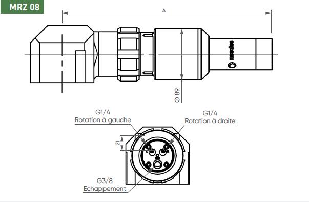 Schéma d'encombrement pour le moteur pneumatique MRZ08