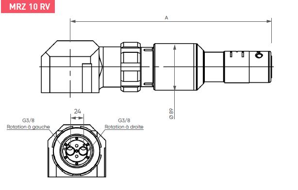 Schéma d'encombrement pour le moteur pneumatique MRZ10RV