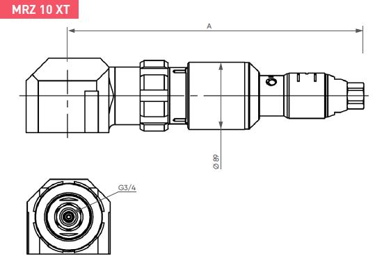 Schéma d'encombrement pour le moteur pneumatique MRZ10XT