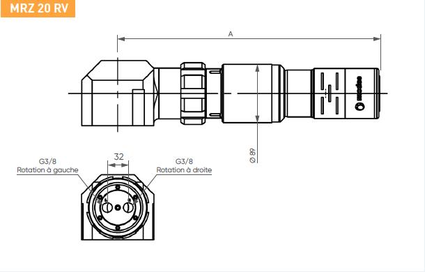 Schéma d'encombrement pour le moteur pneumatique MRZ20RV