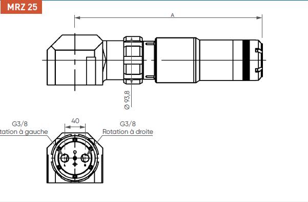 Schéma d'encombrement pour le moteur pneumatique MRZ25
