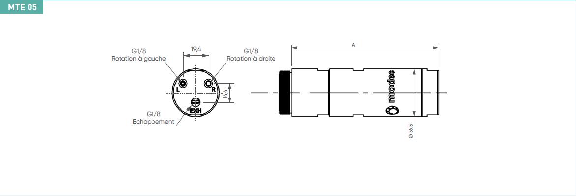 Schéma d'encombrement pour le moteur pneumatique MTE05