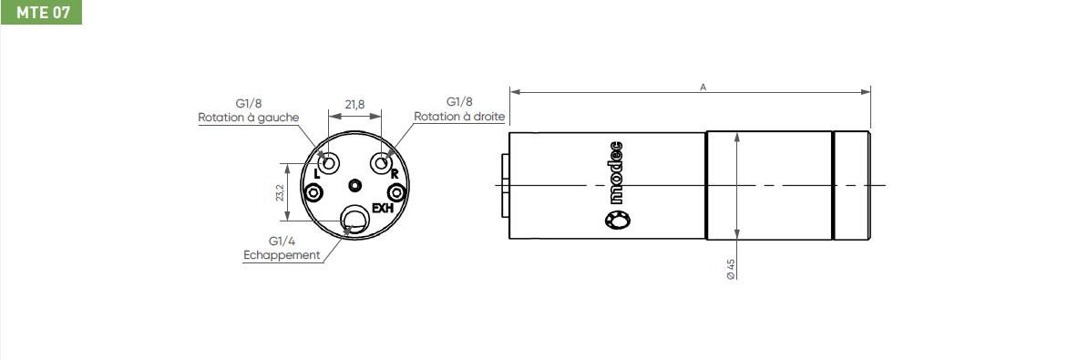 Schéma d'encombrement pour le moteur pneumatique MTE07
