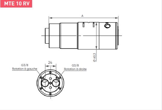 Schéma d'encombrement pour le moteur pneumatique MTE10RV