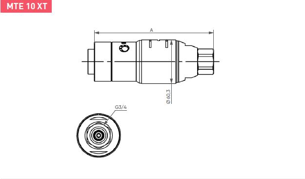 Schéma d'encombrement pour le moteur pneumatique MTE10XT