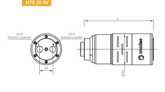 Schéma d'encombrement pour le moteur pneumatique MTE20RV