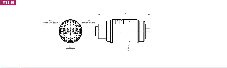 Schéma d'encombrement pour le moteur pneumatique MTE30