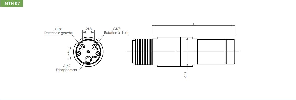 Schéma d'encombrement pour le moteur pneumatique MTH07