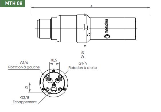 Schéma d'encombrement pour le moteur pneumatique MTH08