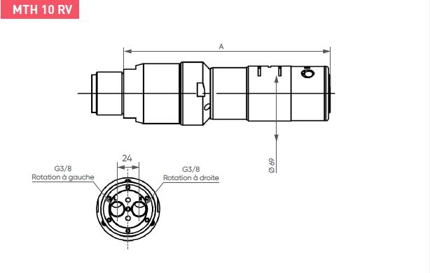 Schéma d'encombrement pour le moteur pneumatique MTH10RV