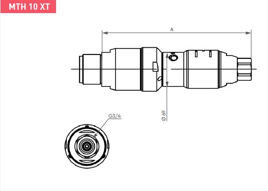 Schéma d'encombrement pour le moteur pneumatique MTH10XT