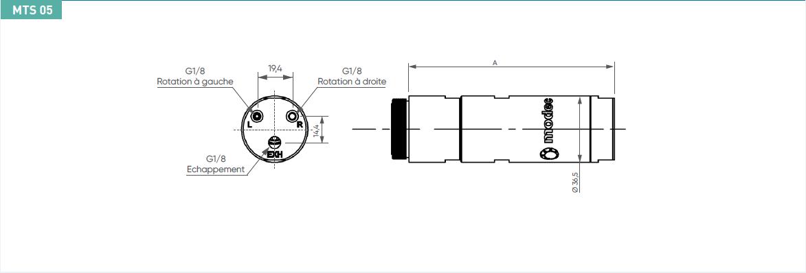 Schéma d'encombrement pour le moteur pneumatique MTS05