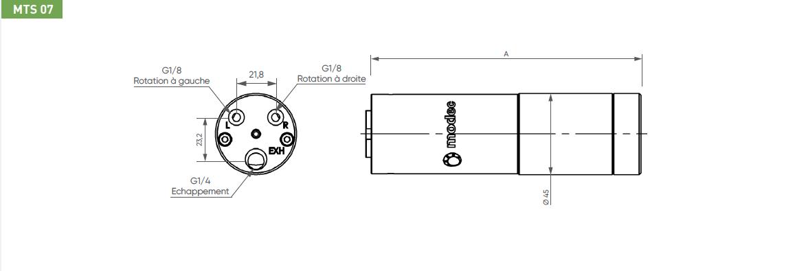 Schéma d'encombrement pour le moteur pneumatique MTS07
