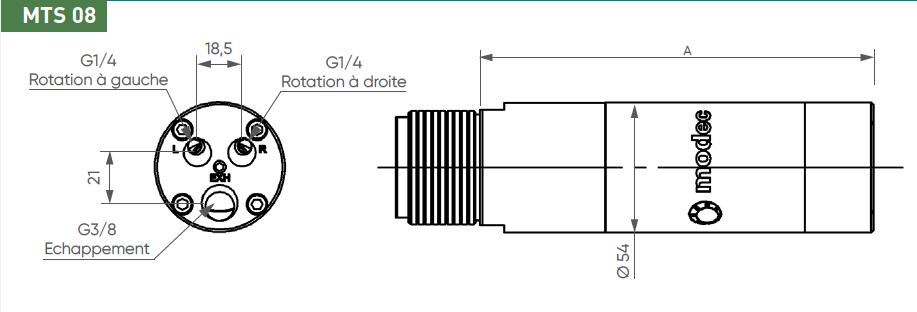Schéma d'encombrement pour le moteur pneumatique MTS08