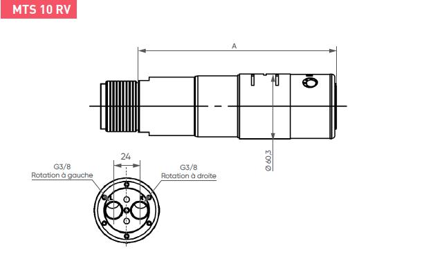Schéma d'encombrement pour le moteur pneumatique MTS10RV