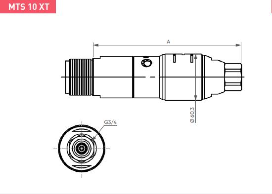 Schéma d'encombrement pour le moteur pneumatique MTS10XT