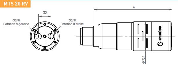 Schéma d'encombrement pour le moteur pneumatique MTS20RV