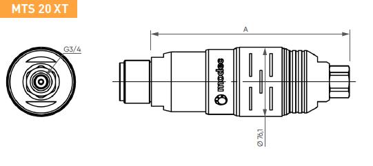 Schéma d'encombrement pour le moteur pneumatique MTS20XT