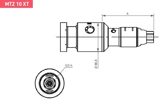 Schéma d'encombrement pour le moteur pneumatique MTZ10XT