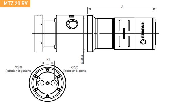 Schéma d'encombrement pour le moteur pneumatique MTZ20RV