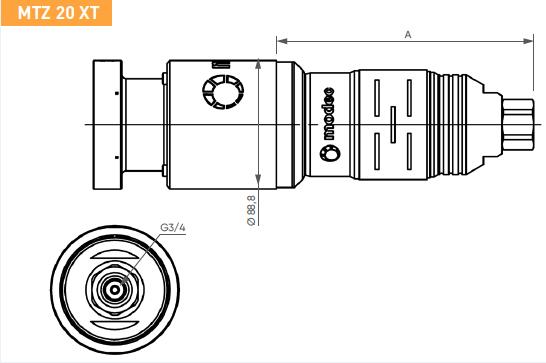 Schéma d'encombrement pour le moteur pneumatique MTZ20XT