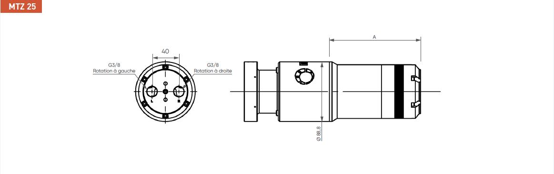 Schéma d'encombrement pour le moteur pneumatique MTZ25