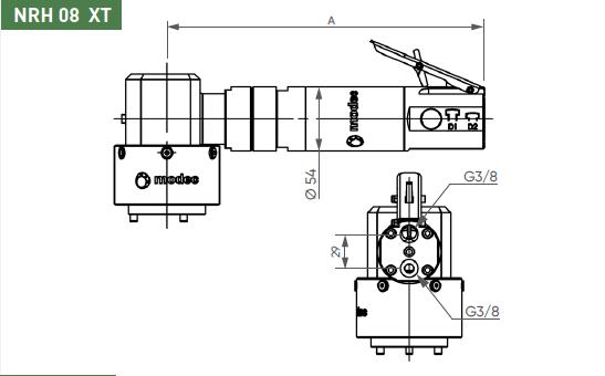 Schéma d'encombrement pour le moteur pneumatique NRH08XT