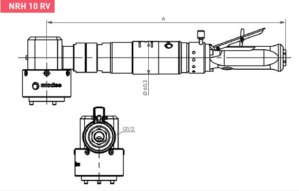 Schéma d'encombrement pour le moteur pneumatique NRH10RV