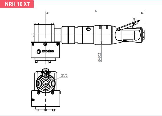 Schéma d'encombrement pour le moteur pneumatique NRH10XT