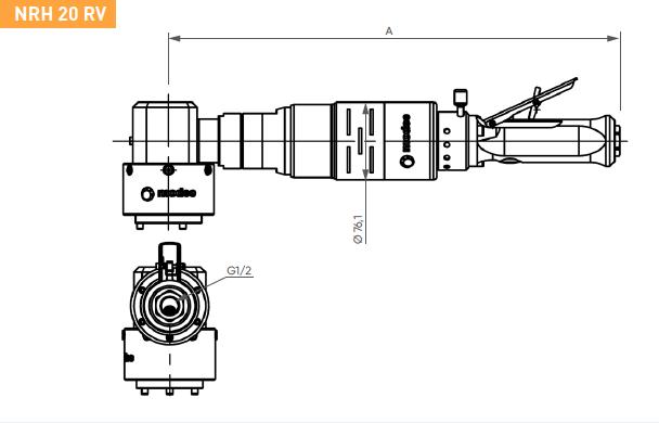 Schéma d'encombrement pour le moteur pneumatique NRH20RV