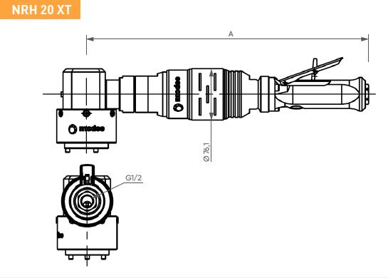 Schéma d'encombrement pour le moteur pneumatique NRH20XT