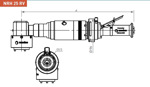 Schéma d'encombrement pour le moteur pneumatique NRH25RV
