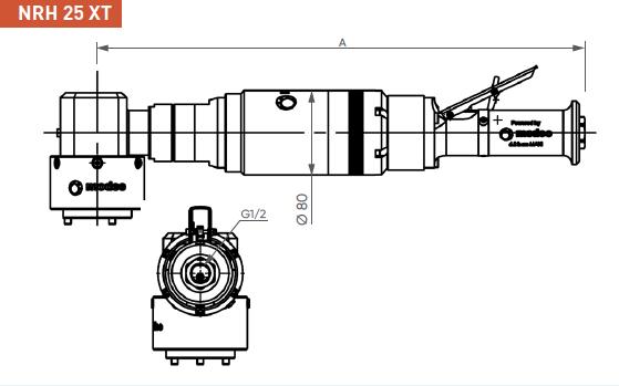 Schéma d'encombrement pour le moteur pneumatique NRH25XT