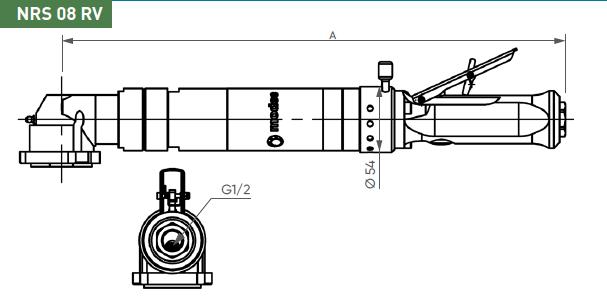 Schéma d'encombrement pour le moteur pneumatique NRS08RV