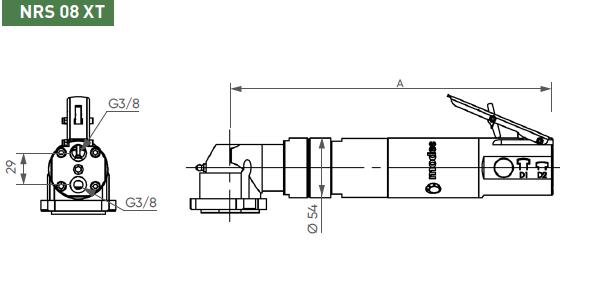 Schéma d'encombrement pour le moteur pneumatique NRS08XT