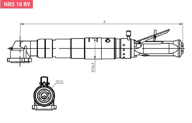 Schéma d'encombrement pour le moteur pneumatique NRS10RV